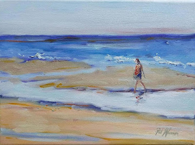 "Seascape, Beach, Woman on Beach, Figurative Oil Painting ""The Beach Comber"" by Georgia Artist Pat Warren"