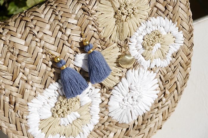 Pepe Jeans, tassel earrings, Quasten Ohrringe, straw hat, Strohhut, DIY, Etsy