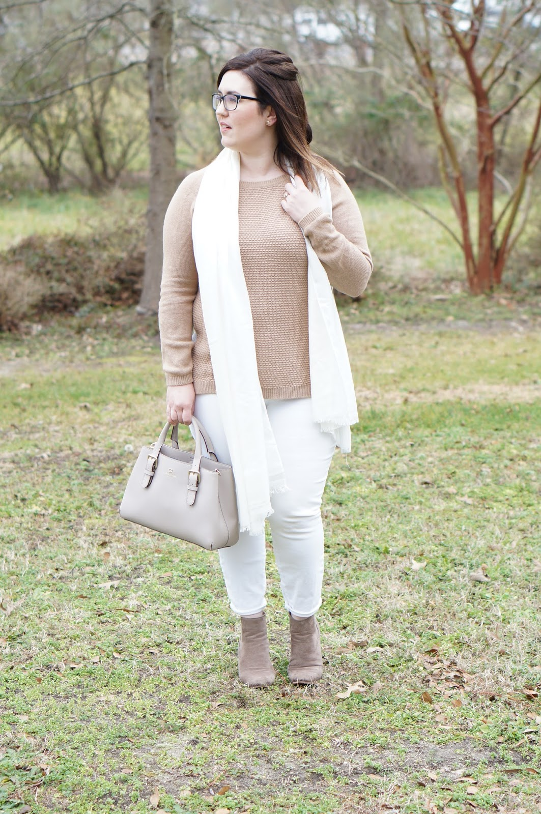 Rebecca Lately Winter Whites Loft Sweater Ann Taylor Skinny Curvy Jeans Taupe Booties Kate Spade Cove Street Provence Kate Spade Earrings
