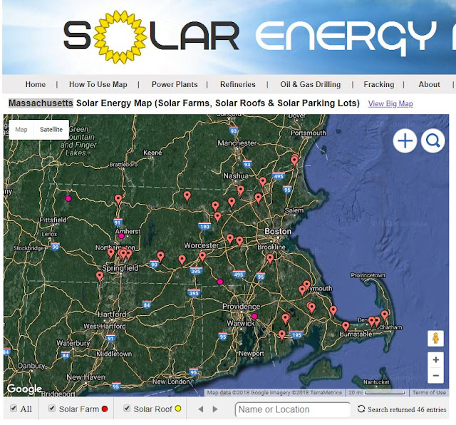 map of solar farms in Massachusetts