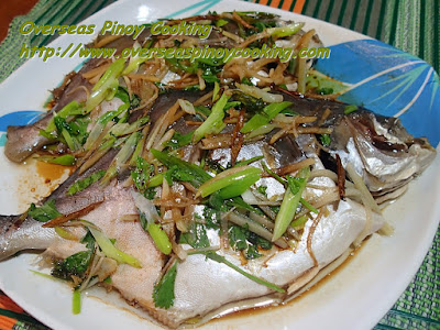 Steamed Pampano with Soy Sauce and Sesame oil