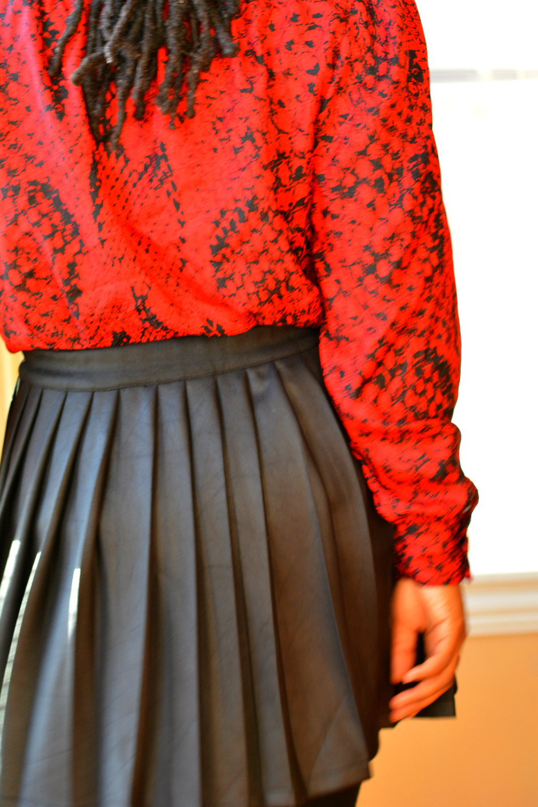 red snakeskin print blouse