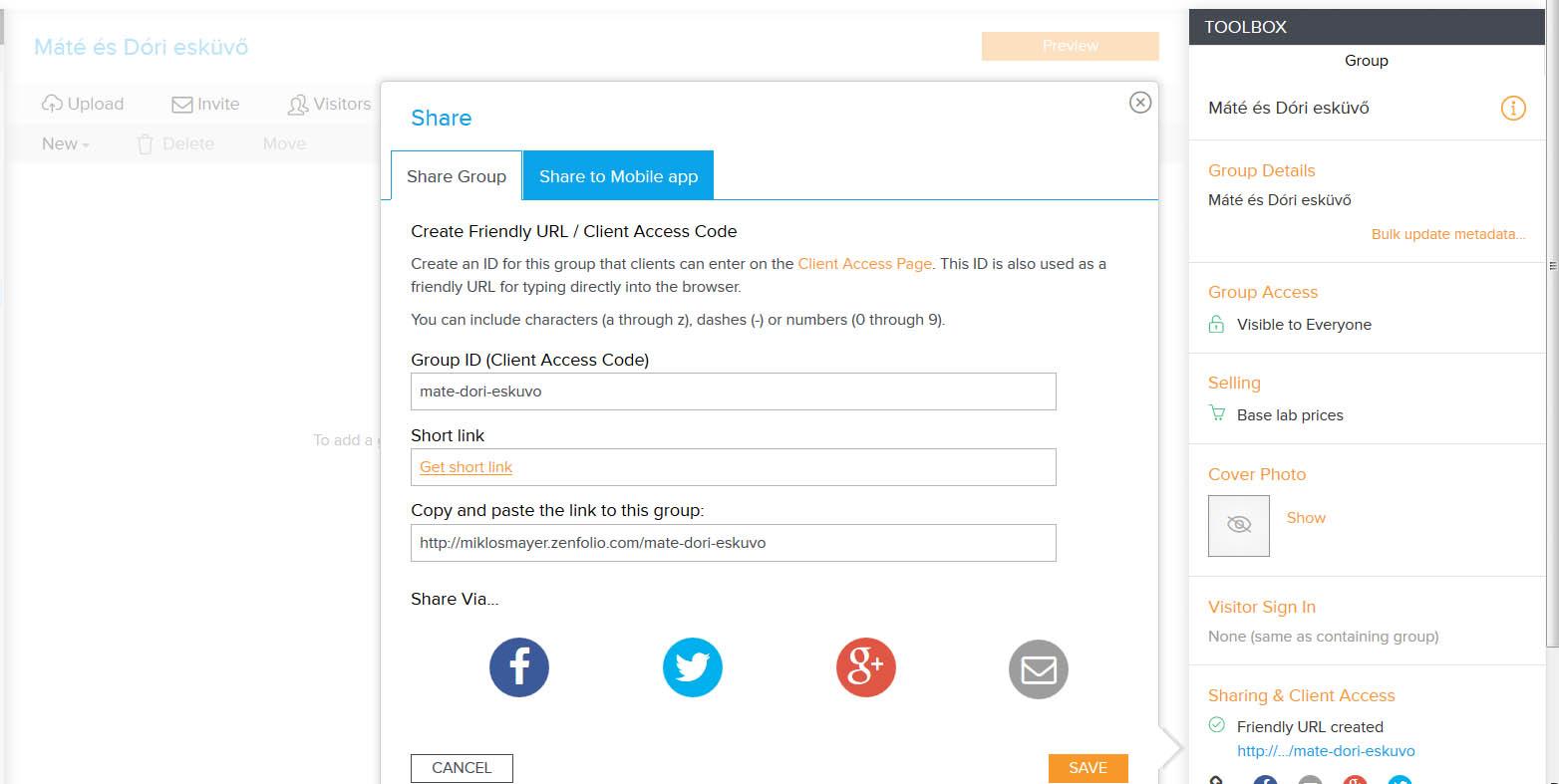 Zenfolio egyedi URL készítése képernyőkép