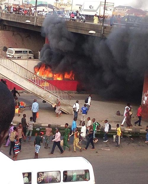 Commercial Bus Goes Up In Flames Under Oshodi Bridge