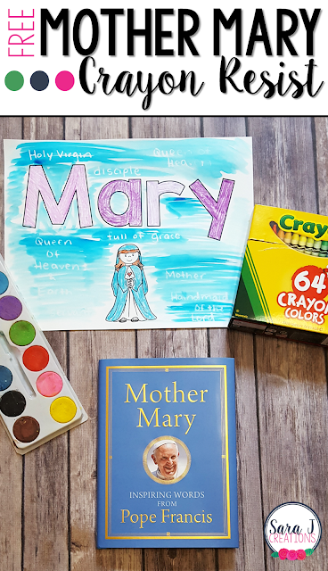 Free Mary craft template to celebrate the mother of Jesus. Perfect for October and May when we honor the Virgin Mary in a special way in the Catholic church.