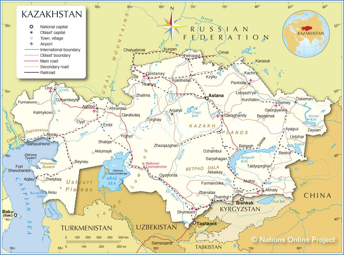 Cazaquistão | Mapas Geográficos do Cazaquistão