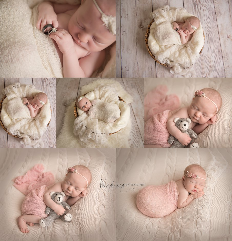 Newborn baby photos of a baby girl in pink cream and white DeKalb Sycamore IL