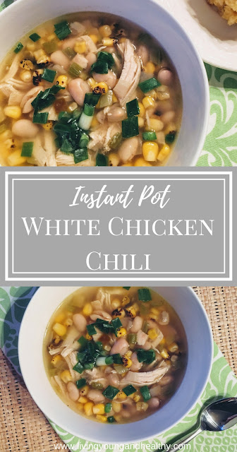 Healthy White Chicken Chili in the Instant Pot is a warm, hearty, and delicious meal.  It can be made quickly in the Instant Pot or on the stovetop | www.livingyoungandhealthy.com