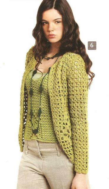Patrón #1498: Chaqueta a Crochet