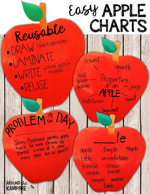 Easy reusable apple shaped anchor charts with FREE math printable