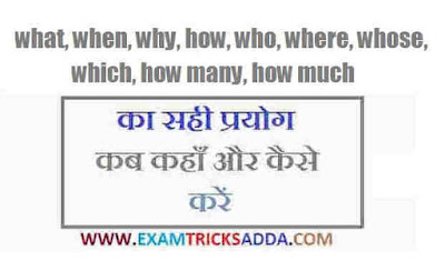 what, when, why, how, who, where, whose, which, how many, how much का प्रयोग Hindi to English Translation