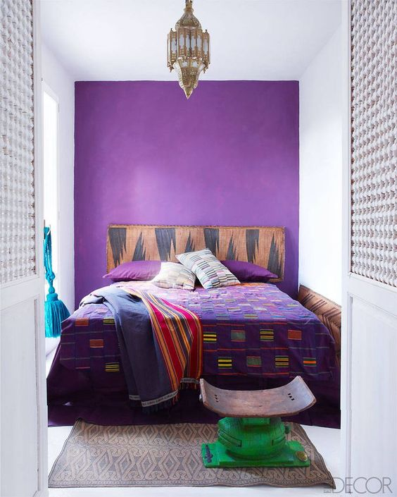 Purple Bedroom with Accent Wall
