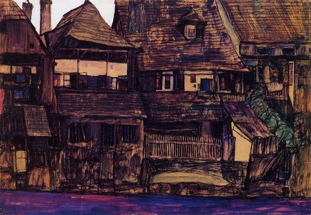 Egon Schiele - Casas junto al Moldava - 1910