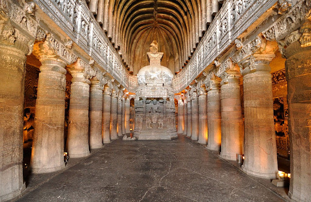 Chaitya Griha with the Idol of Buddha - Ajanta caves - Ancient Buddhist Monestry - Maharashtra India -  - Pick, Pack, Go