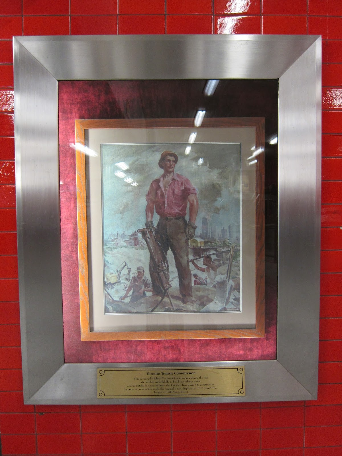 Edwin McCormick commemorative painting at Bloor subway station concourse