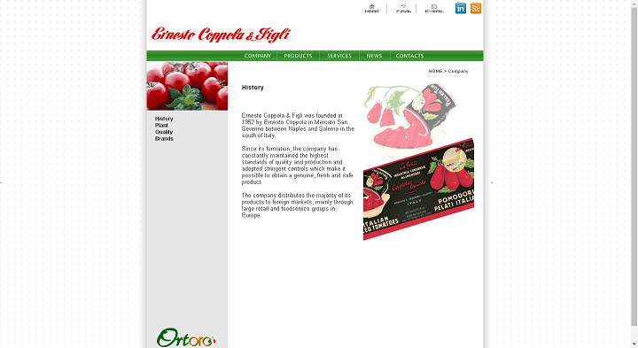 Picture to Italian food exporter company named Ernesto Coppola & Figli Srl
