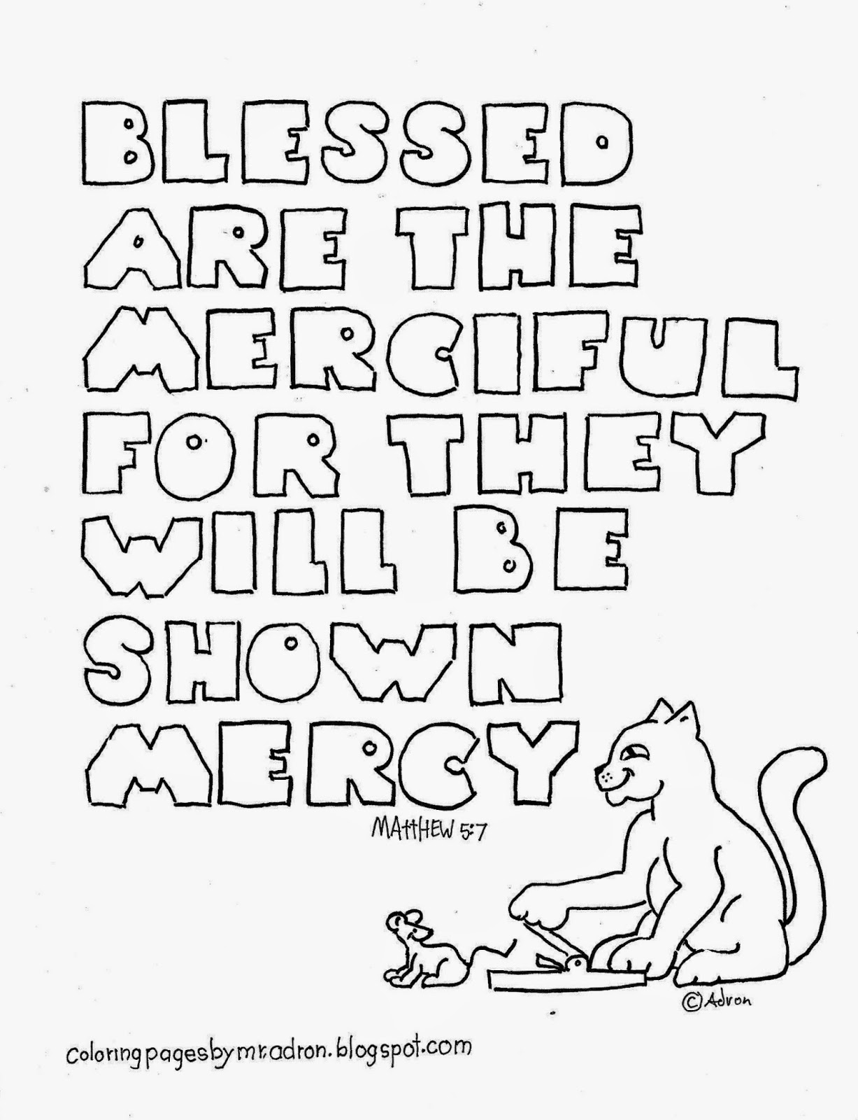Illustration of Matthew 5:7 to print and color.
