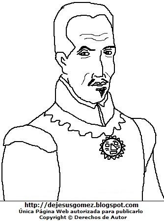 Dibujo del Inca Garcilaso de la Vega de medio cuerpo para colorear pintar imprimir. Dibujo del Inca Garcilaso de la Vega hecho por Jesus Gómez