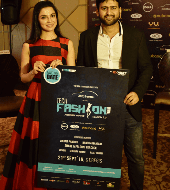Mr. Ramesh, Somani,CEO & Founder, Exhibit Technologies with Actress Divya Khosla Kumar at the launch event of Beetle's Tech Fashion Tour 2016 organized by Exhibit Technologies-