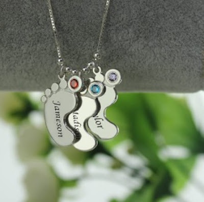 Cute Personalized Mother's Necklace Baby Feet Charm -Price: $ 32.95