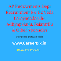 AP Endowments Dept Recruitment for 112 Veda Parayanadarulu, Adhyapakulu, Bajantrilu & Other Vacancies