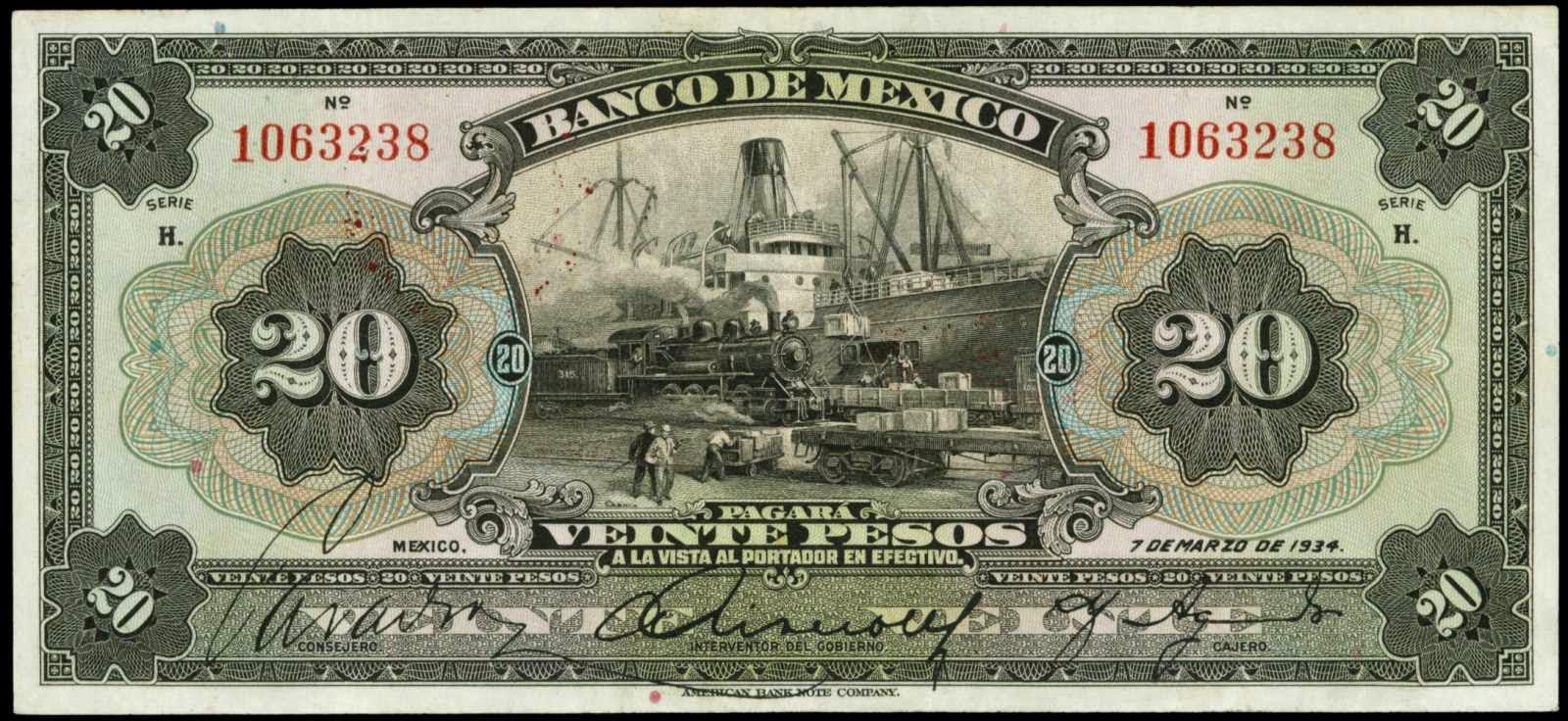Mexico 20 Pesos banknote 1934 Banco De Mexico-World..