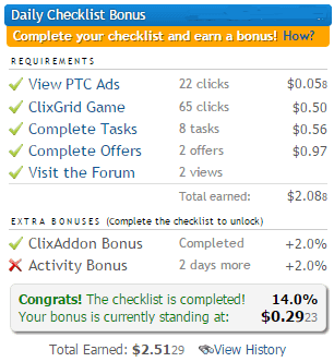 Clixsense daily bonus