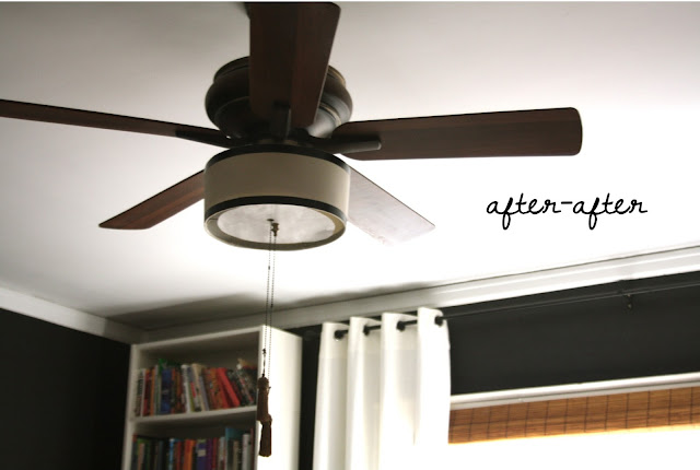 DIY ceiling fan makeover with drum shade, diffuser, and black trim