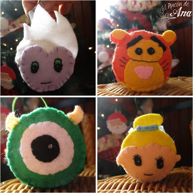 Tsum tsum de fieltro para decorar en navidad