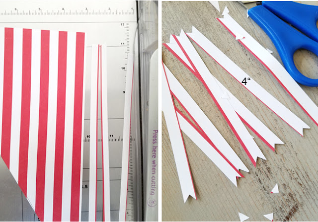 paper cutter with red and white paper strips