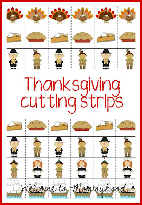 Thanksgiving activities by Welcome to Mommyhood: preschool thanksgiving cutting strips #preschoolactivities, #montessori, #freeprintables, #thanksgivingactivities
