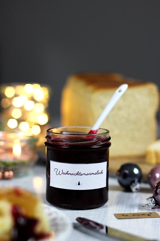 Weihnachtsmarmelade mit Cranberries, Zimt und Orangen, Rezept, Holunderweg18