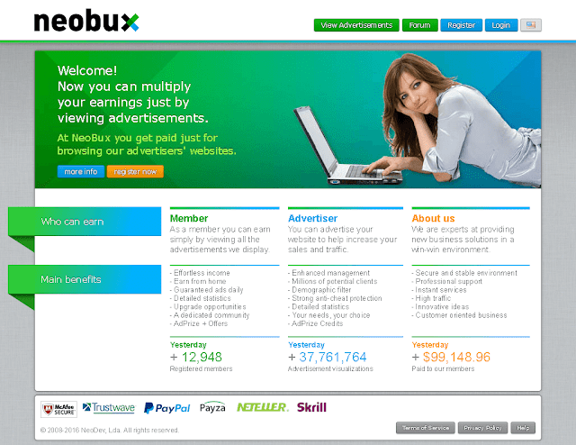 Neobux Website layout