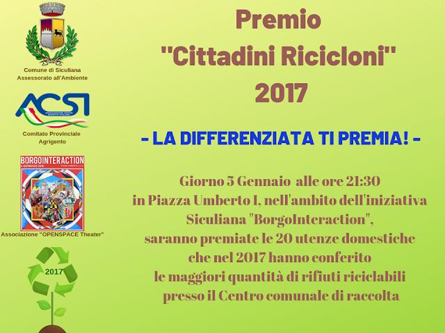 Siculiana Ricicla, Premio Cittadini Ricicloni 2017