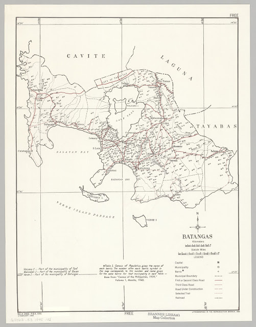 A United States OSS map of Batangas, created 1945.