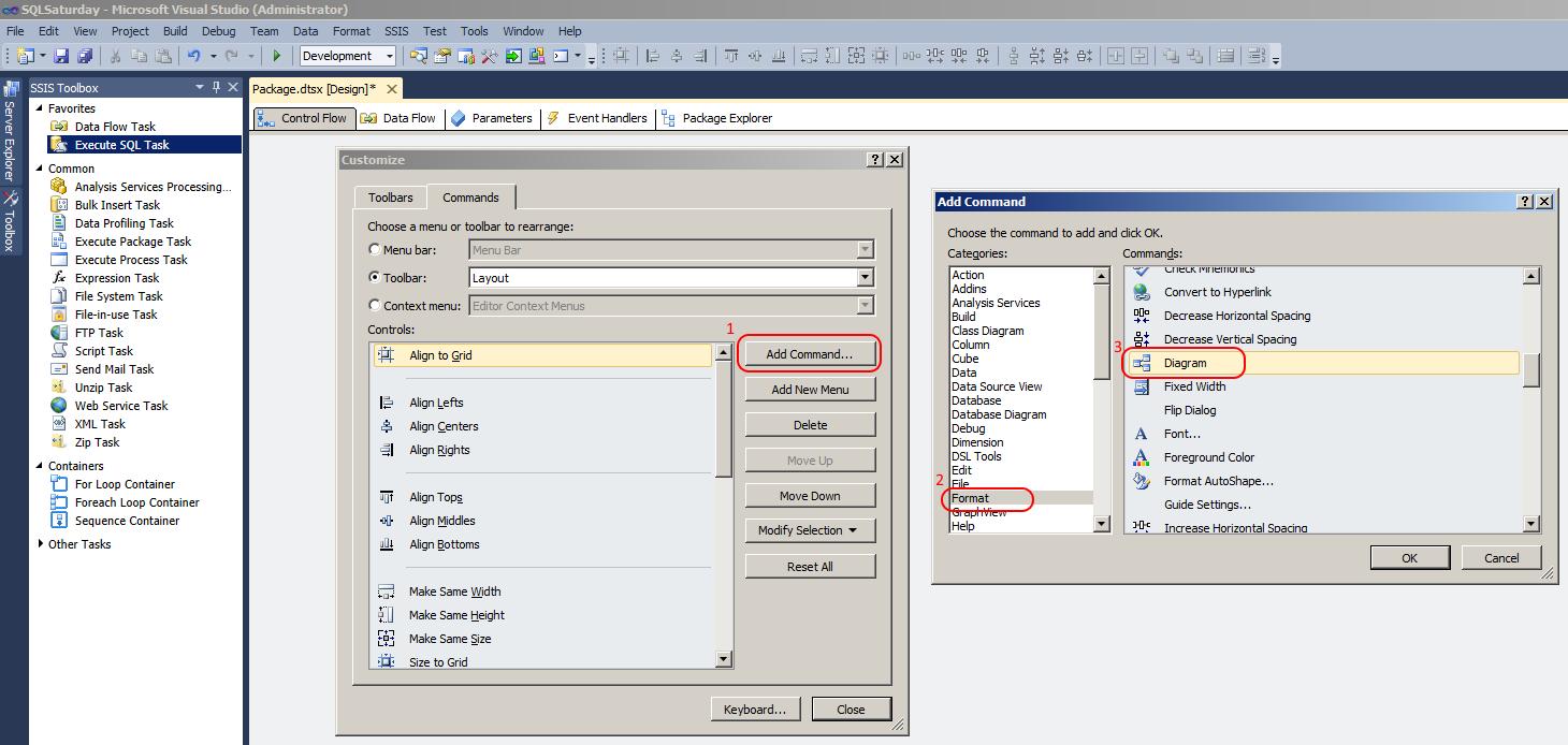 Microsoft SQL Server Integration Services: 'Auto Layout - Diagram