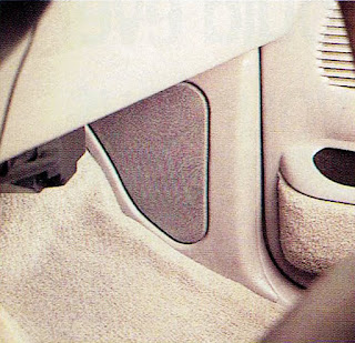 image in color of the interior of Matt Billmeier's 1995 Dodge Ram truck  highlighting the passenger's side kickpanel