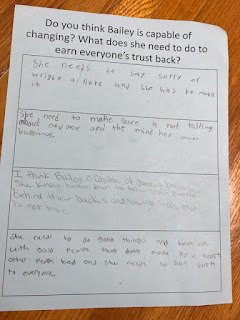 Student example responses to Trouble Talk round robin task sheets.