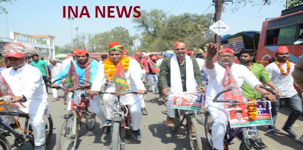 Gathbandhan-pratyashi-ke-samarthan-me-nikaali-gayi-cycle-rally