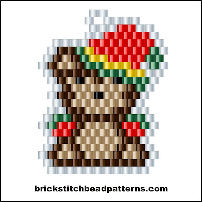 Click for a larger image of the Cute Christmas Teddy Bear brick stitch bead pattern color chart.