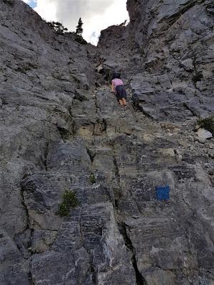 Mount Yamnuska painted trail marker