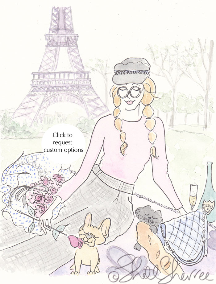 Paris, Plaits and Plaid with French Bulldog Puppy, Black Cat fashion illustration © Shell Sherree all rights reserved