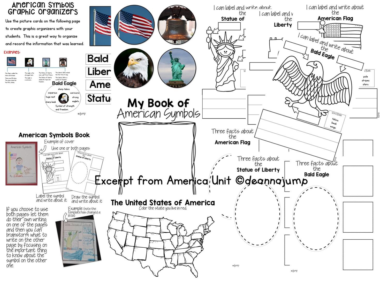 American symbols for kids in kindergarten and first grade [ 1091 x 1470 Pixel ]