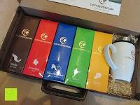 Erfahrungsbericht: Coffeepolitan Premium Geschenkset - Kaffee aus 5 Kontinenten mit Zubereitungsset - grob gemahlen 5 x 9 Portionen (5 x 9 x 7g); ideal auch als Geburtstagsgeschenk oder Probierset