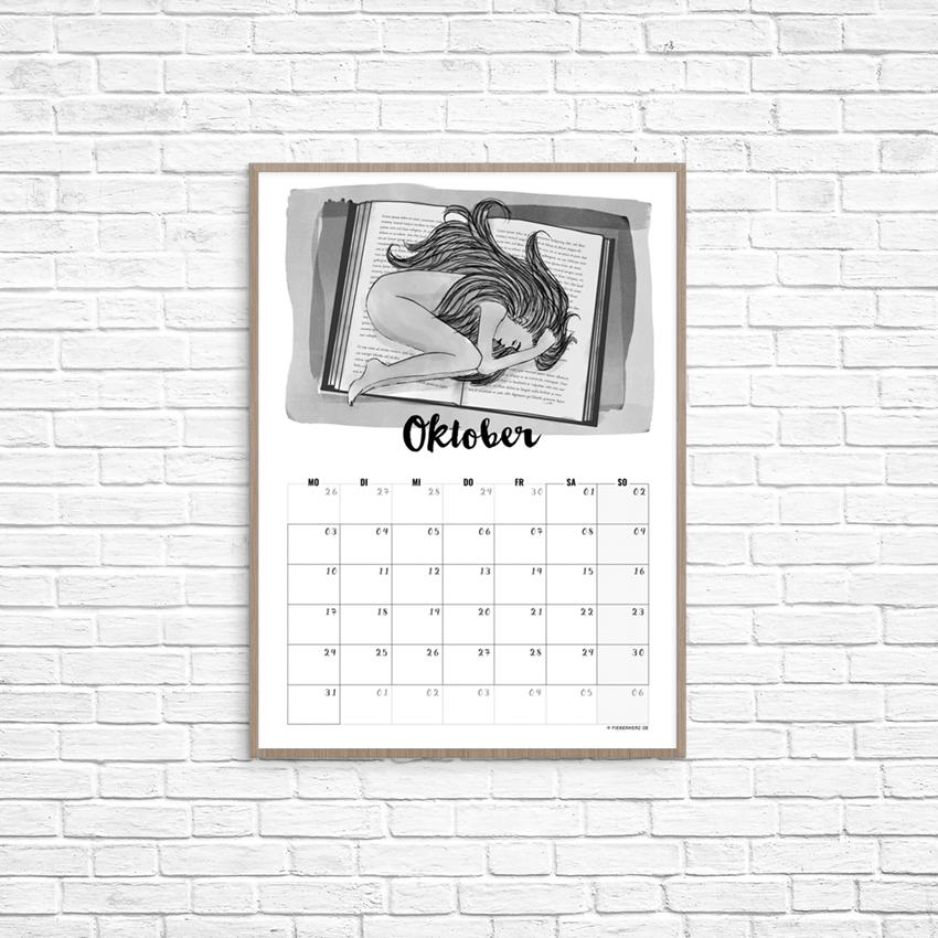 Kalenderblatt Oktober // Illustration/Kalendarium © fieberherz.de