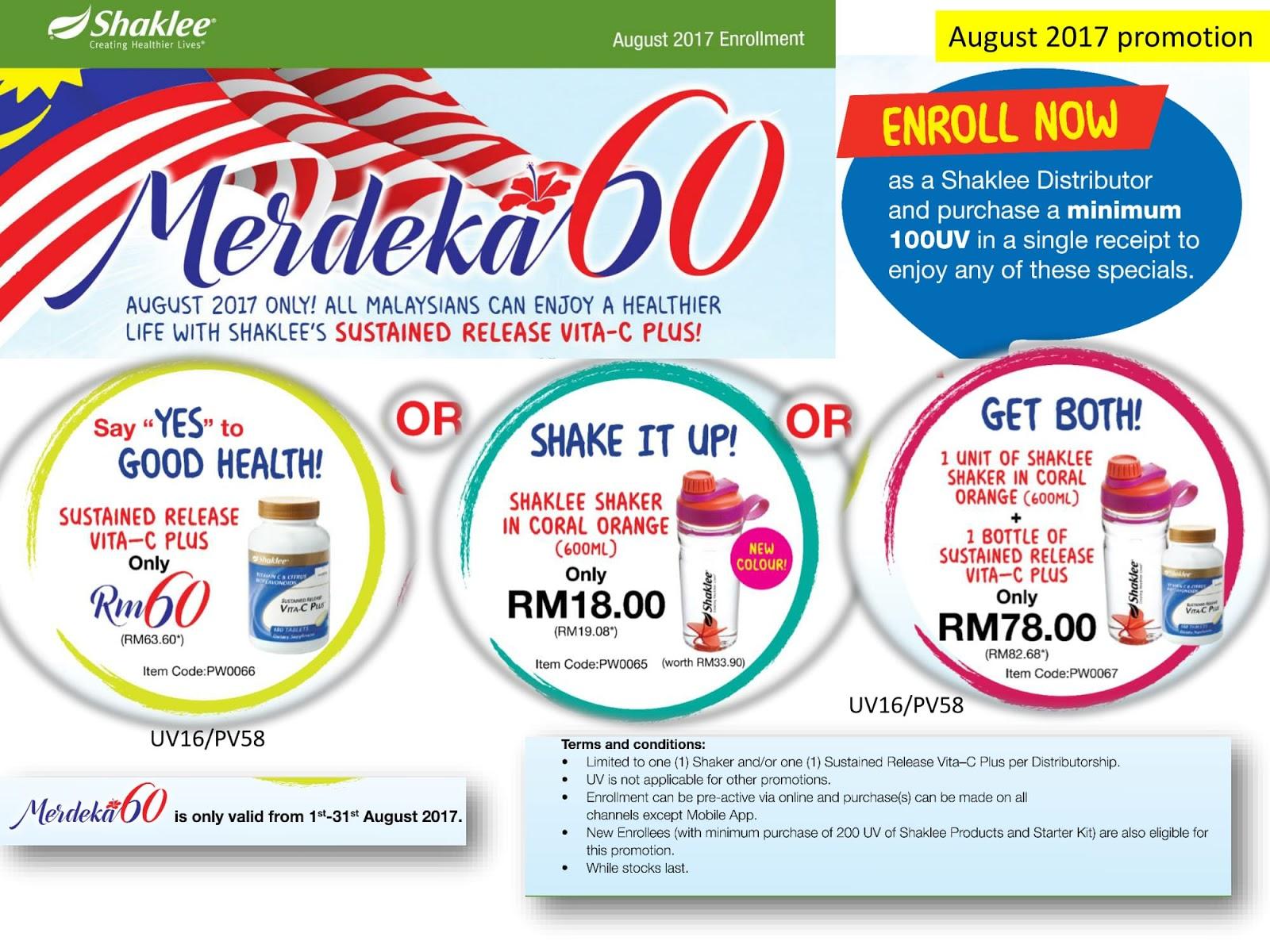 Promosi Merdeka, Promosi Shaklee Merdeka, Promo Tumbler Coral, Vitamin C murah