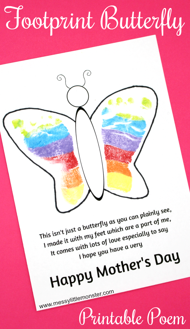 graphic about Printable Mothers Day Poems identified as Footprint Butterfly Poem - Printable Moms Working day Card