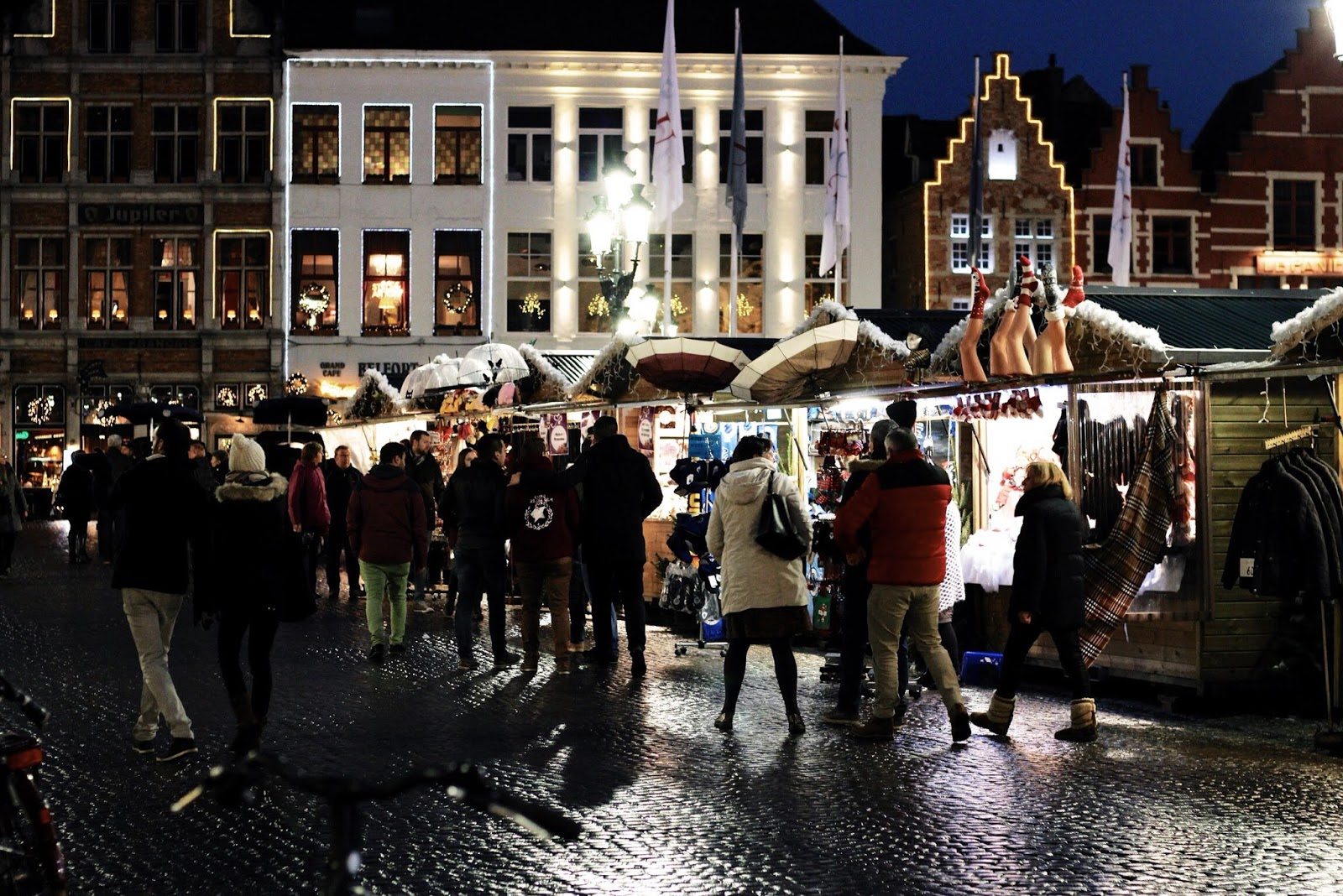 Bruges at Christmas rainy weather winter