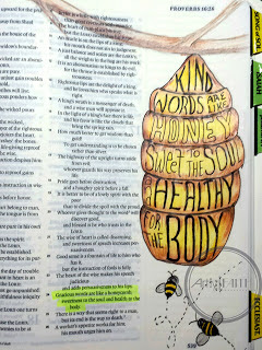 Artsy Faith original artwork of Proverbs 16:24 in my Journaling Bible.