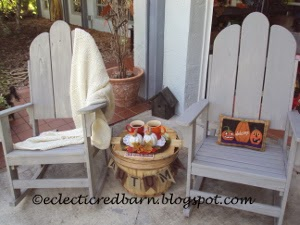 Eclectic Red Barn: Grey rocking chairs decorated for Autumn